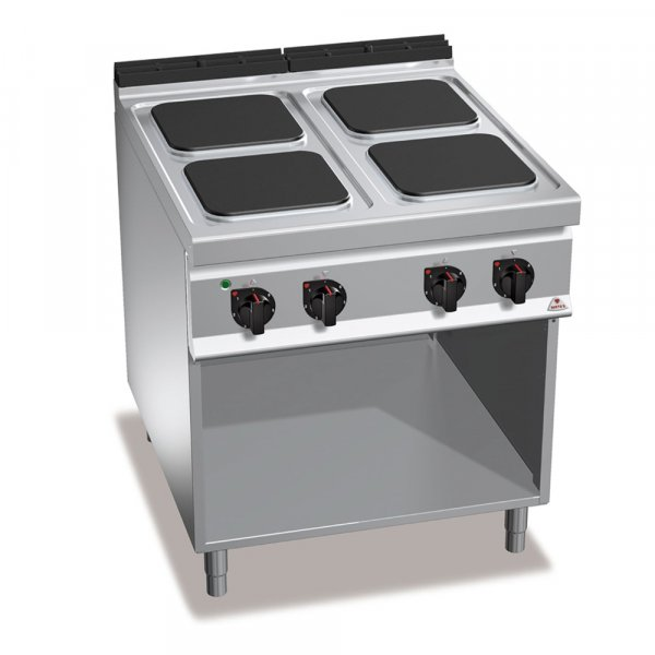 4 SQUARE PLATE ELECTRIC COOKING RANGE ON OPEN CABINET BERTO'S E9PQ4M
