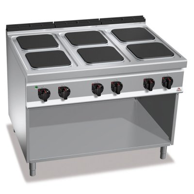6 SQUARE PLATE ELECTRIC COOKING RANGE ON OPEN CABINET BERTO'S E9PQ6M