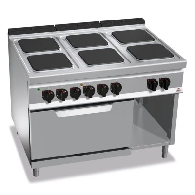 6 SQUARE PLATE ELECTRIC COOKING RANGE + 2/1 ELECTRIC OVEN E9PQ4+FE BERTO'S E9PQ6+FE